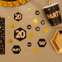 Glitz & Glamour Black & Gold Confetti Scatters 20th (100)